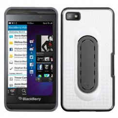 Blackberry Z10 White Snap Tail Stand Case