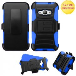 Samsung Galaxy J1 Black/ Blue Advanced Armor Stand Case with Black Holster