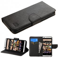 HTC Desire 555 Black Pattern/Black Liner wallet with Card Slot