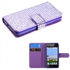 Huawei Valiant / Ascend Plus Purple Diamonds Book-Style Wallet with Card Slot