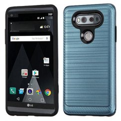 LG V20 Ink Blue/Black Brushed Hybrid Case with Carbon Fiber Accent