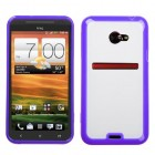 HTC EVO 4G LTE Transparent Clear/Solid Purple Gummy Cover