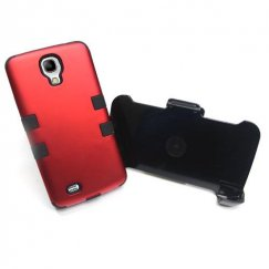 Samsung Galaxy S4 Titanium Red/Black Hybrid Case with Black Holster