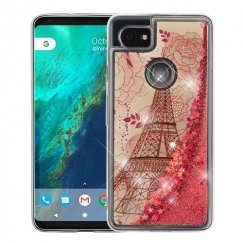 Google Pixel 2 XL Eiffel Tower & Rose Gold Stars Quicksand Glitter Hybrid Case