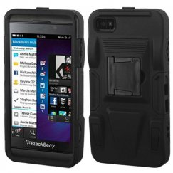Blackberry Z10 Black/Black Advanced Armor Stand Case - Rubberized