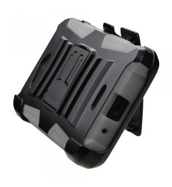 Kyocera Wave / Hydro Air Black/Gray Advanced Armor Stand Case with Black Holster