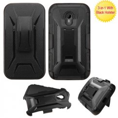 Motorola Moto G Black/Black Advanced Armor Stand Case with Black Holster