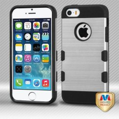 Apple iPhone 5/5s Silver/Black Brushed Hybrid Case