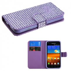 Samsung Epic 4G Touch (Galaxy S2) Purple Diamonds Book-Style Wallet with Card Slot
