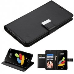 LG G Stylus 2 Black/Black PU Leather Wallet with extra card slots