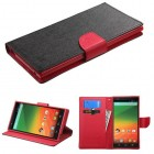 ZTE ZMax Black Pattern/Red Liner Wallet with Card Slot