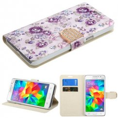 Samsung Galaxy Grand Prime Fresh Purple Flowers Diamante Wallet with Diamante Belt