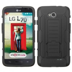 LG Optimus L70 Black/Black Car Armor Stand Case - Rubberized