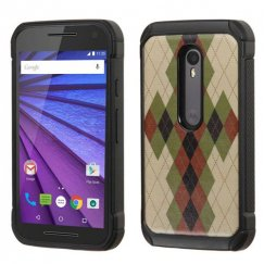 Motorola Moto G 3rd Gen Vintage Argyle Backing/Black Astronoot Case