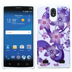 ZTE ZMAX 2 Purple Hibiscus Flower Romance /White Advanced Armor Case