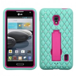 LG Optimus F6 Hot Pink/Sky Blue Symbiosis Stand Case with Diamonds