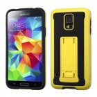 Samsung Galaxy S5 Yellow/Black Leather Backing/Black Advanced Armor Stand Case