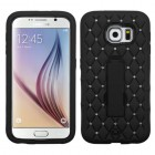 Samsung Galaxy S6 Black/Black Symbiosis Stand Case with Diamonds