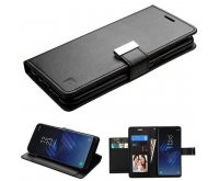 Black/Black PU Leather Wallet with extra card slots (GE031) -WP
