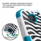 Kyocera Wave / Hydro Air Zebra Skin/Tropical Teal Hybrid Case