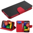 Motorola Moto G 2nd Gen Black Pattern/Red Liner Wallet with Card Slot