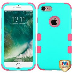 Apple iPhone 7 Rubberized Teal Green/Electric Pink Hybrid Case