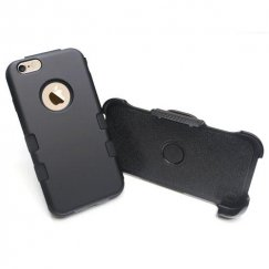 Apple iPhone 6/6s Plus Rubberized Black/Black Hybrid Case Combo with Black Horizontal Holster
