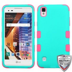 LG X Style / Tribute HD Rubberized Teal Green/Electric Pink Hybrid Case Military Grade