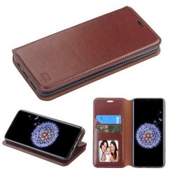 Samsung Galaxy S9 Plus Brown Wallet with Tray