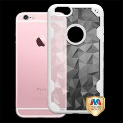 Apple iPhone 6/6s Plus Transparent Clear Polygon/Solid White Challenger Hybrid Case