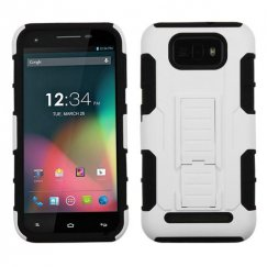 Blu Studio 5.5 White/Black Car Armor Stand Case - Rubberized