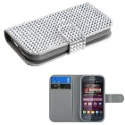 Samsung Galaxy Ring Silver Diamonds Book-Style Wallet with Card Slot