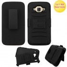 Samsung Galaxy J2 Black/Black Advanced Armor Stand Protector Cover (With Black Holster)