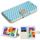 Samsung Galaxy Core Prime Blue Wave Wallet(with Diamante Belt)
