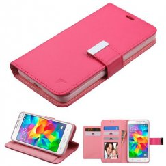 Samsung Galaxy Grand Prime Hot Pink/Pink PU Leather Wallet with extra card slots