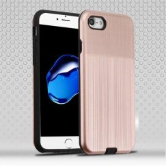Apple iPhone 7 Rose Gold Woven & Brushed/Black Hybrid Protector Cover