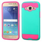Samsung Galaxy J2 Teal Green/Hot Pink Brushed Hybrid Protector Cover