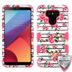 LG G6 Pink Fresh Roses/Electric Pink Hybrid Case Military Grade