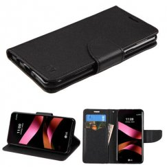 LG X Style / Tribute HD Black Pattern/Black Liner wallet with Card Slot