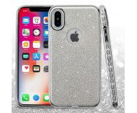 Apple iPhone X Silver Full Glitter Hybrid Protector Cover (with Electroplating Silver & Diamonds Frame)