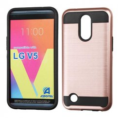LG K10 Rose Gold/Black Brushed Hybrid Case