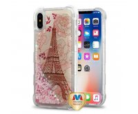 Apple iPhone X Eiffel Tower/Pink Hearts Quicksand Glitter Lite Hybrid Protector Cover
