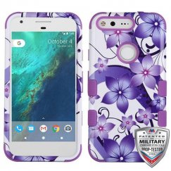 Google Pixel XL Purple Hibiscus Flower Romance/Electric Purple Hybrid Case - Military Grade