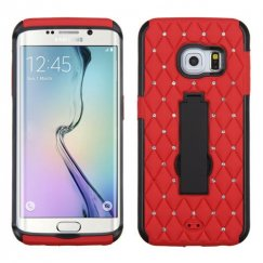Samsung Galaxy S6 Edge Black/Red Symbiosis Stand Case with Diamonds