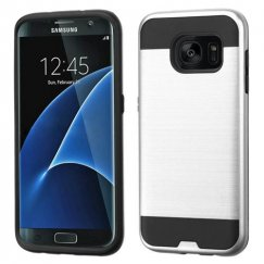 Samsung Galaxy S7 Edge Silver/Black Brushed Hybrid Case