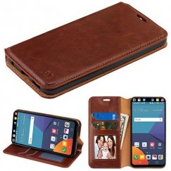 LG V30 Brown Wallet with Tray
