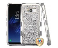 Samsung Galaxy S8 Plus Silver Plating Frame??? Mini Crystals Back/Iron Gray Vivid Hybrid Protector Cover