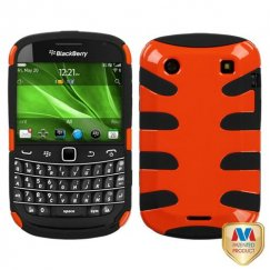 Blackberry Bold 9930 Carrot Orange/Black Fishbone Case