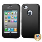 Apple iPhone 4/4s Rubberized Black/Black Hybrid Protector Cover