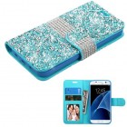 Samsung Galaxy S7 Baby Blue Mini Crystals with Silver Belt Wallet